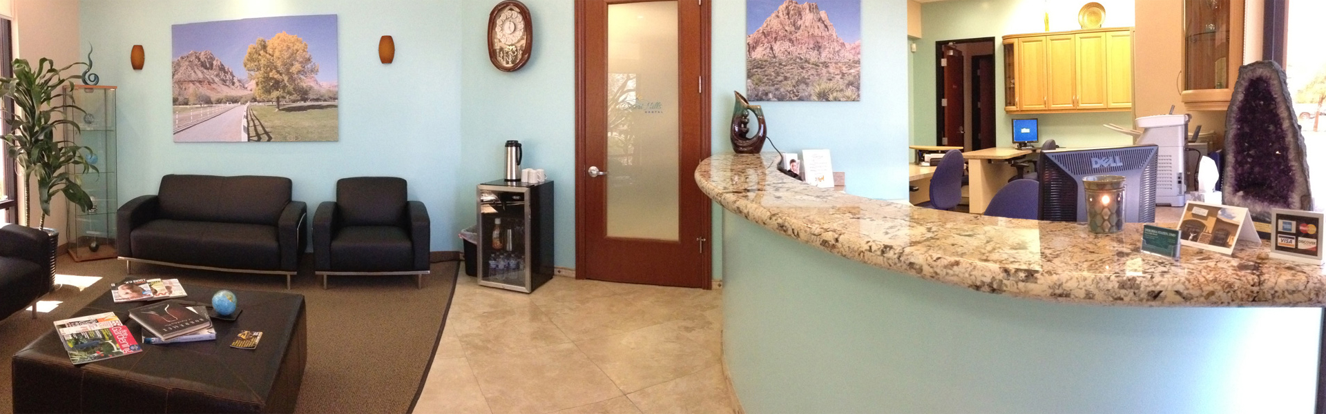 Desert Hills Dental view from entrance of waiting room and check-in desk