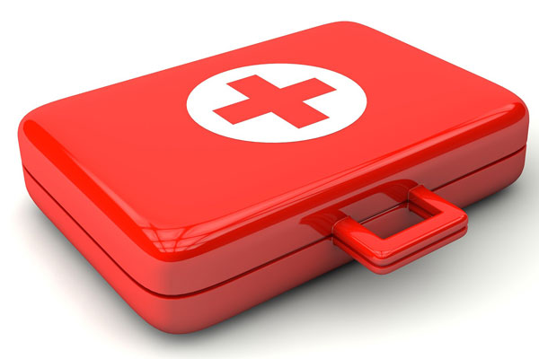 red emergency first aid kit