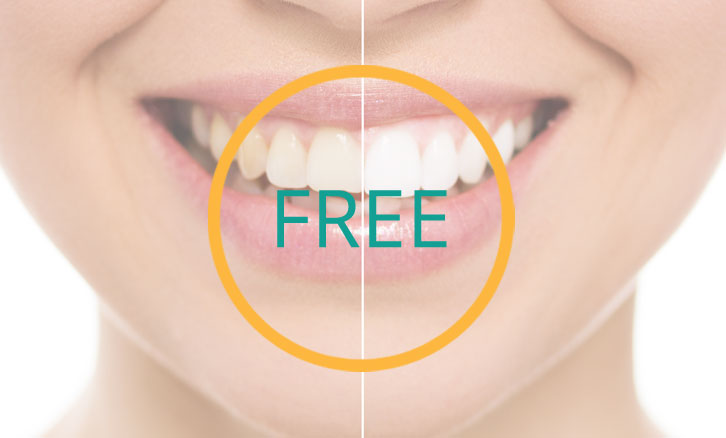 Close up before and after of woman's mouth smiling with the word 'FREE' in green in front